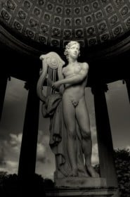 Statue of the god Apollo in the gardens of Schwetzingen Castle