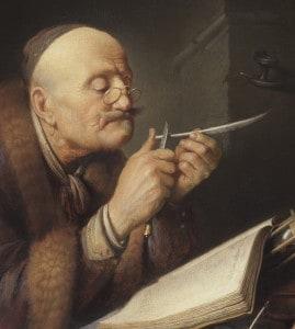 Gerrit_Dou_Scholar_sharpening_a_quill_pen_wikicom