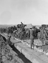 British soldiers building roads late 1915